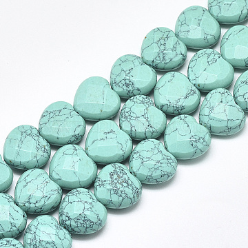 15mm Heart Synthetic Turquoise Beads