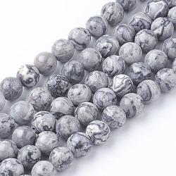 """Carte naturelle pierre / pierre picasso / perles jaspe picasso, rond, 6mm, trou: 1mm; environ 65 pcs/chapelet, 15.5""""(G-G047-6mm)"""