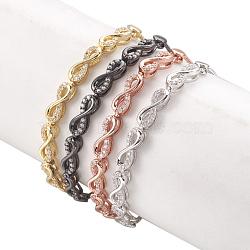 """Bracelets bolo réglables en laiton, Bracelets coulissants, avec des liens de zircons, infini, clair, couleur mixte, 11-7/8"""" (30cm); 1.3mm(BJEW-O167-03)"""