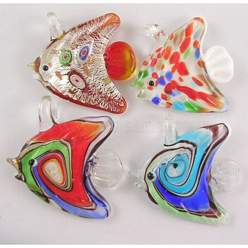 Lampwork Glass Pendants, Fish, Mixed Color, 43~46mmx49~55mm, hole: 6~7mm(X-SLSP114)