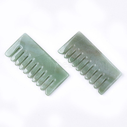 Natural Green Aventurine Massage Comb, Massage Tools, Gua Sha Scraping Stick, 79~81x39~41x7~8mm(G-T113-10A)