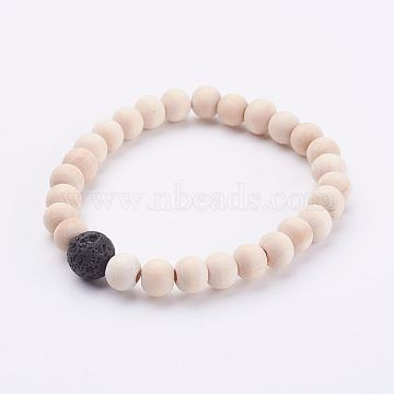 Wood Beads Stretch Bracelets, with Natural Lava Rock Beads, BurlyWood, 2-1/8 inches(54mm)(X-BJEW-JB02958)