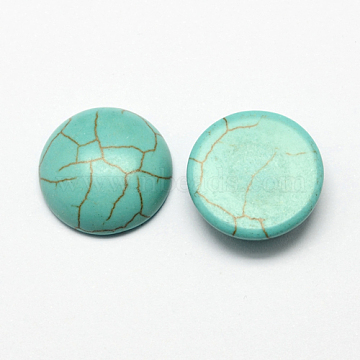 Craft Findings Dyed Synthetic Turquoise Flat Back Dome Cabochons, Half Round, Dark Cyan, 18x6mm(X-TURQ-S266-18mm-01)