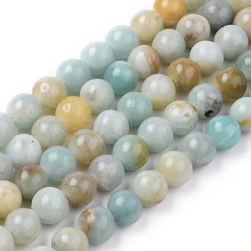 Natural Flower Amazonite Beads Strands, Round, 8mm, Hole: 2mm, about 48pcs/strand, 14.7 inches(37.5cm)(G-L476-12)