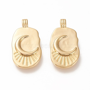 Brass Pendants, Long-Lasting Plated, Oval with Moon, Real 20K Gold Plated, 26.5x14x2.5mm, Hole: 3x1.5mm(X-KK-L006-035G)