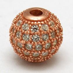 Perles rondes en 925 argent sterling, avec micro ouvrent la zircone cubique, or rose, 8mm, Trou: 1mm(STER-O021-01RG-8mm)