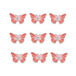 perles en alliage d'alliage de style chinois, papillon, plaqué argent, corail, 9.5x15.5x4 mm, trou: 1.6 mm(X-ENAM-L015-16A-S)