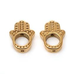 316 Surgical Stainless Steel Bead Frames, Hamsa Hand/Hand of Fatima /Hand of Miriam, for Buddhist, Golden, 15x11.5x3.5mm, Hole: 1.2mm, Inner Diameter: 6mm(X-STAS-I134-23G)