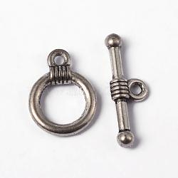 Argent tibétain fermoirs anneau à bascule, sans plomb et sans cadmium, argent antique, anneau: environ 11 mm de large, Longueur 15mm, bar: environ 2.5 mm de large, Longueur 20mm, Trou: 2mm(X-LF0034Y)
