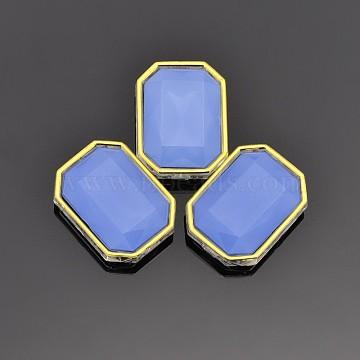 Sew on Rhinestone, Multi-strand Links, Taiwan Acrylic, Golden Plated, Garment Accessories, Rectangle, Cornflower Blue, 10x8x5mm, Hole: 0.5mm(X-SA12-6x8-ACG-H15)