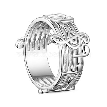 SHEGRACE 925 Sterling Silver Finger Ring, Wide Band Rings, Musical Notes, Size 9, Platinum, 19mm(JR596A)