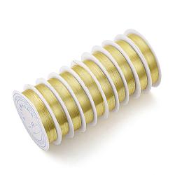 Fil de bijoux en cuivre, Plaqué longue durée, or clair, 24 jauge, 0.5 mm; 6.2 m / rouleau(X-CWIR-Q006-0.5mm-G)