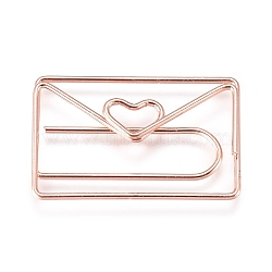 Envelope with Heart Shape Iron Paperclips, Cute Paper Clips, Funny Bookmark Marking Clips, Rose Gold, 19x30x3.5mm(X-TOOL-L008-018RG)