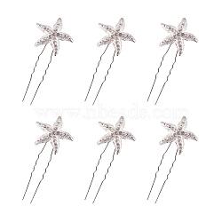 fourches d'alliage de mariage, avec strass, étoiles de mer, plaqué argent, 73~74 mm; broche: 1.3 mm; étoile de mer: 27~28x4 mm; 10 pièces / ensemble(OHAR-PH0001-08S)
