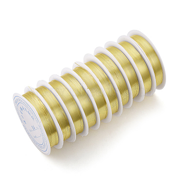 Copper Jewelry Wire, Long-Lasting Plated, Light Gold, 24 Gauge, 0.5mm, about 20.34 Feet(6.2m)/roll(X-CWIR-Q006-0.5mm-G)