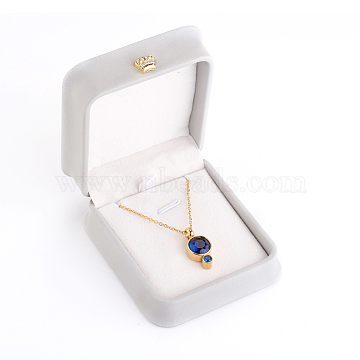 PU Leather Necklace Pendant Gift Boxes, with Golden Plated Iron Crown and Velvet Inside, for Wedding, Jewelry Storage Case, Light Grey, 8.4x7.2x4cm(LBOX-L005-F01)