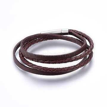 Leather Cord Wrap Bracelets, with 304 Stainless Steel Clasp, Rectangle, Stainless Steel Color, 410x4~16x2~4mm(BJEW-G603-34P)