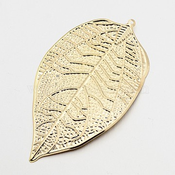 Iron Leaf Bookmarks, Golden, 77x44x0.8mm, Hole: 1mm(AJEW-P031-01)
