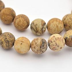 "Chapelets de perles en jaspe avec images naturelles, mat, rond, 4mm, trou: 1 mm; environ 95 pcs / brins, 15.3""(G-G735-16F-4mm)"