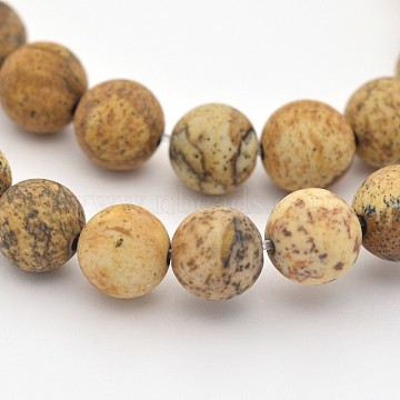 Natural Picture Jasper Beads Strands, Frosted, Round, 4mm, Hole: 1mm; about 95pcs/strands, 15.3inches(G-G735-16F-4mm)