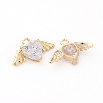 Brass Micro Pave Cubic Zirconia Pendants, Nickel Free, Real 18K Gold Plated, Wing with Heart, 11x19x5mm, Hole: 2mm(X-ZIRC-R015-58G)