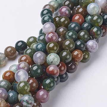 Gemstone Beads Strands, Natural Indian Agate, Round, about 8mm in diameter, hole: about 1mm, about 46pcs/strand, 15~16 inches(X-GSR002)