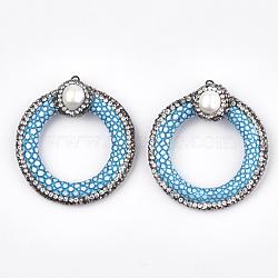 Pendentifs en similicuir, avec argile polymère strass, accessoires de coquille & en fer, peau de serpent imitation, anneau, bleu foncé, 48.5~52.5x45~47x15~17mm, Trou: 1.8mm(RB-T006-06A)