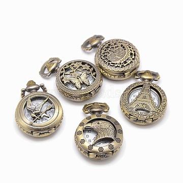Mixed Styles Vintage Flat Round Alloy Quartz Watch Heads for Pocket Watch Pendant Necklace Making, Antique Bronze, 36x27x11.5~12.5mm(WACH-M109-M01)