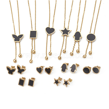 304 Stainless Steel Jewelry Sets, with Resin, Pendant Necklaces and Stud Earrings, Mixed Shapes, Black, Golden, 17.71 inches~18.66 inches(45~47.4cm), 2mm, 11~15.5x8.5~16.5mm, Pin: 0.6mm(SJEW-E325-G)