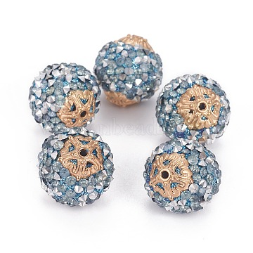 20mm LightSteelBlue Round Resin+Rhinestone Beads