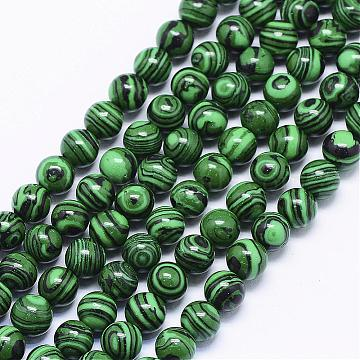 Synthetic Malachite Beads Strands, Round, 6mm, Hole: 1mm; about 65pcs/strand, 15.74 inches(G-F425-38-6mm)