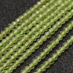Chapelets de perles en péridot naturel, facette, rond, 2mm, trou: 0.5mm; environ 178 pcs/chapelet, 15.3'' (39 cm)(G-K182-2mm-28)