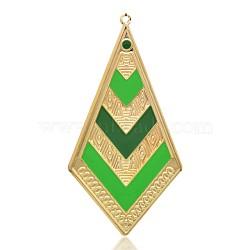 Pendentifs d'émail en fer plaqué or clair, polygone grands pendentifs, verte, 92x47x1mm, Trou: 2.5mm(IFIN-J072-03KCG)