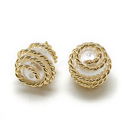 Perles de nacre en plastique ABS, avec les résultats en laiton, arrondir, véritable plaqué or, 10x10x10 mm, trou: 1 mm(X-KK-T032-087G)