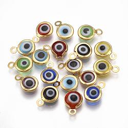 Breloques vernisées manuelles, avec 304 accessoires en acier inoxydable, rond et plat avec des mauvais œil, or, 9.5x6.5x2.5mm, Trou: 1.5mm(X-STAS-T041-01G)