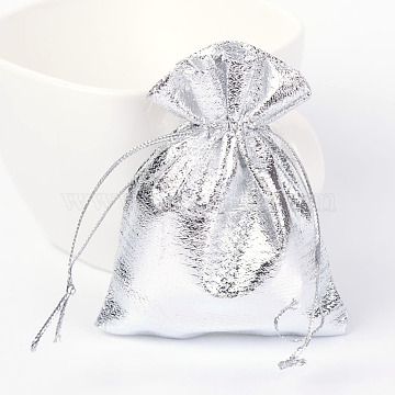 Rectangle Organza Bags, Drawstring Pouches Bags, Party Wedding Cookies Candy Jewelry Bags, Silver, 9x7cm(X-OP-R018-9x7cm-01)