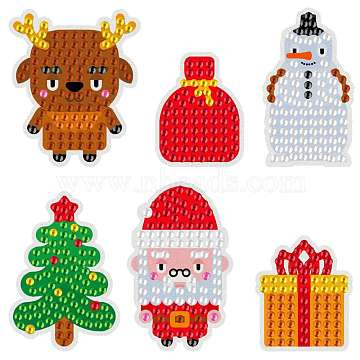 Christmas Theme DIY Diamond Painting Stickers Kits for Kids, with Rhinestones and Diamond Painting Tools, Elk & Snowman & Christmas Tree & Santa Claus & Gifts, Mixed Color, 22.9x7.9x2.4cm(DIY-H123-03)