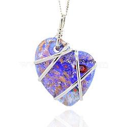 Main en verre de feuille grands pendentifs, sable d'or et millefiori, avec les accessoires en laiton de tonalité de platine, collier coeur gros pendentifs, bleu royal, 64x44x14mm, Trou: 8x9mm(PALLOY-J355-02)