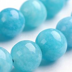"""Chapelets de perles en pierre gemme naturelle, teint, imitation aigue-marine, rond, 8mm, trou: 1mm; environ 48 pcs/chapelet, 14.9""""(G-J333-04-8mm)"""