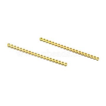 20-Hole Rectangle Iron Spacer Bars, Matte Light Gold, 67x3.5x1mm, Hole: 1mm(X-IFIN-E732-04KCG)