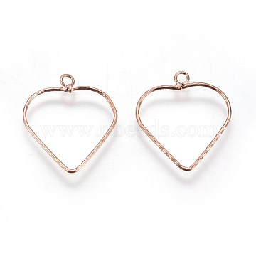 S925 Sterling Silver Pendants, Heart, Rose Gold, 17.5~18x15.5x0.7mm, Hole: 1.5mm(STER-F046-08RG)