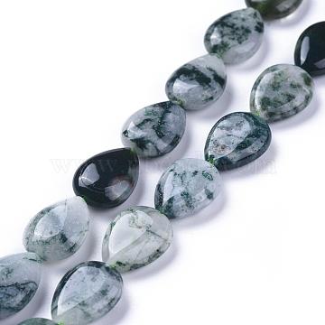 13mm Teardrop Moss Agate Beads
