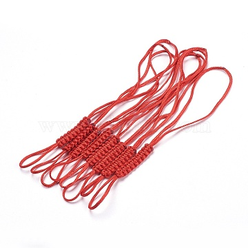 Polyester Nylon Mobile Phone Making Cord Loops, Red, 165~170x7.5x3mm(MOBA-F002-01H)
