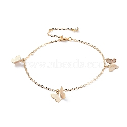 Brass Butterfly Charm Anklets, with Cable Chains, Crystal Rhinestone and Lobster Claw Clasps, Real 18K Gold Plated, 9-1/4 inches(23.5cm)(X-AJEW-AN00281-02)