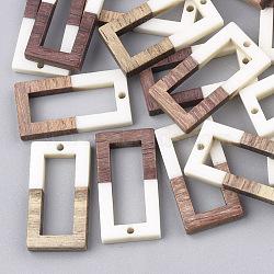 Pendentifs en résine & en bois, rectangle, blanc, 27x14.5x3.5mm, Trou: 1.5mm(X-RESI-S358-10A)