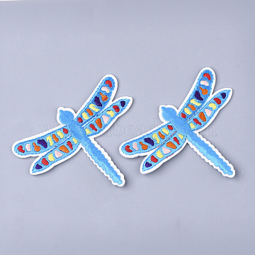 Computerized Embroidery Cloth Iron On Patches, Costume Accessories, Appliques, Dragonfly, DeepSkyBlue, 70x86x1.5mm(X-FIND-T030-134)