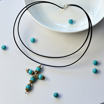 DIY Necklace Kits, Two Tiered Simple Cross Pendant Necklace with Turquoise Beads, Black, 10x7x5mm, Hole: 1x3mm(DIY-JP0003-24)