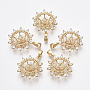 Real 18K Gold Plated Clear Brass+Cubic Zirconia Peg Bails(KK-N233-024-NF)