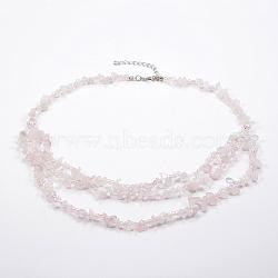 colliers à gradins en perles de verre et quartz rose naturel, colliers en couches, avec les résultats en laiton, 18.8 (48 cm)(NJEW-K100-05J)