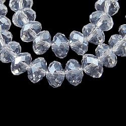 perles de verre brins, lustre perle plaqué, cristal suncatcher, facettes rondelle, effacer, 4x3 mm, trou: 1 mm; environ 140~145 perle / brin, 18.9(X-EGLA-GR4MMY-01L)